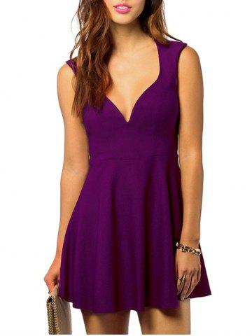 V Neck Cut Out Sleeveless Dress