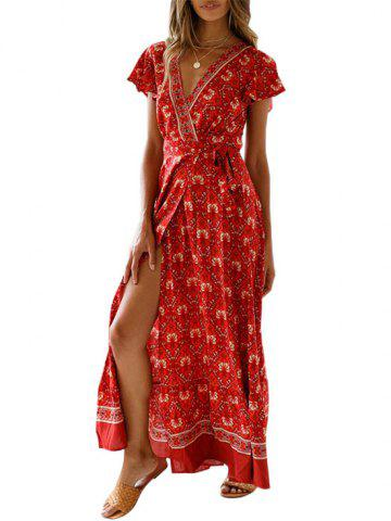 Flower Maxi Wrap Dress