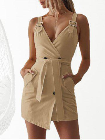 Plunging Buckle Mini Dress