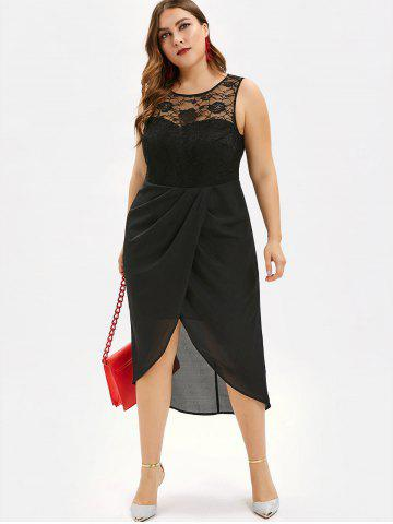 Asymmetric Plus Size Lace Panel Chiffon Dress