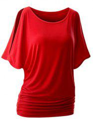Plus Size Round Neck Side Ruched T-shirt -