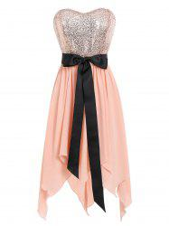 Sequined Handkerchief Bandeau Dress -