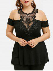 Plus Size Cold Shoulder Lace Panel T Shirt -