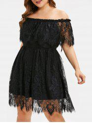 Plus Size Off Shoulder Ruffled Bowknot Lace Dress -