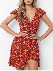 Mini Floral Flounce Wrap Dress -