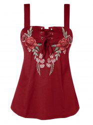 Plus Size Floral Embroidery Tank Top -