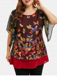 Butterfly Print Overlay Plus Size Blouse -