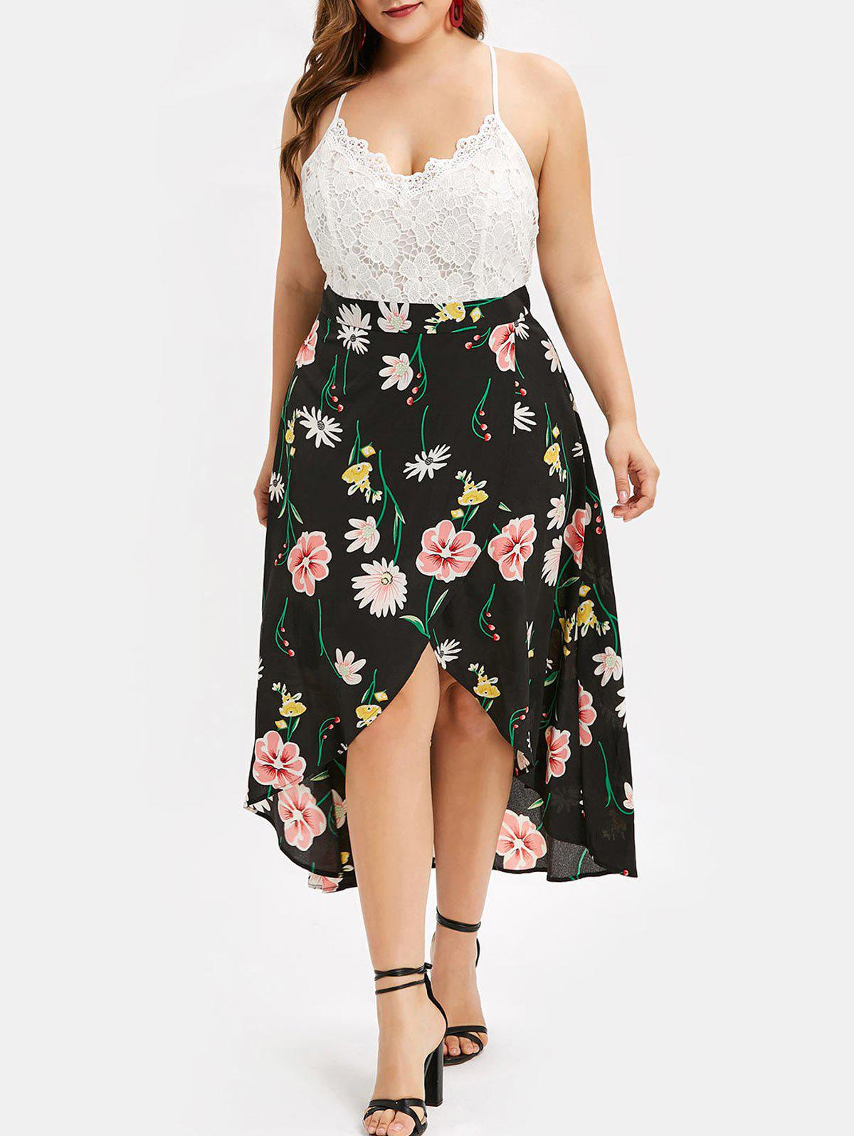 47% OFF] Lace Panel High Low Floral Plus Size Midi Dress | Rosegal