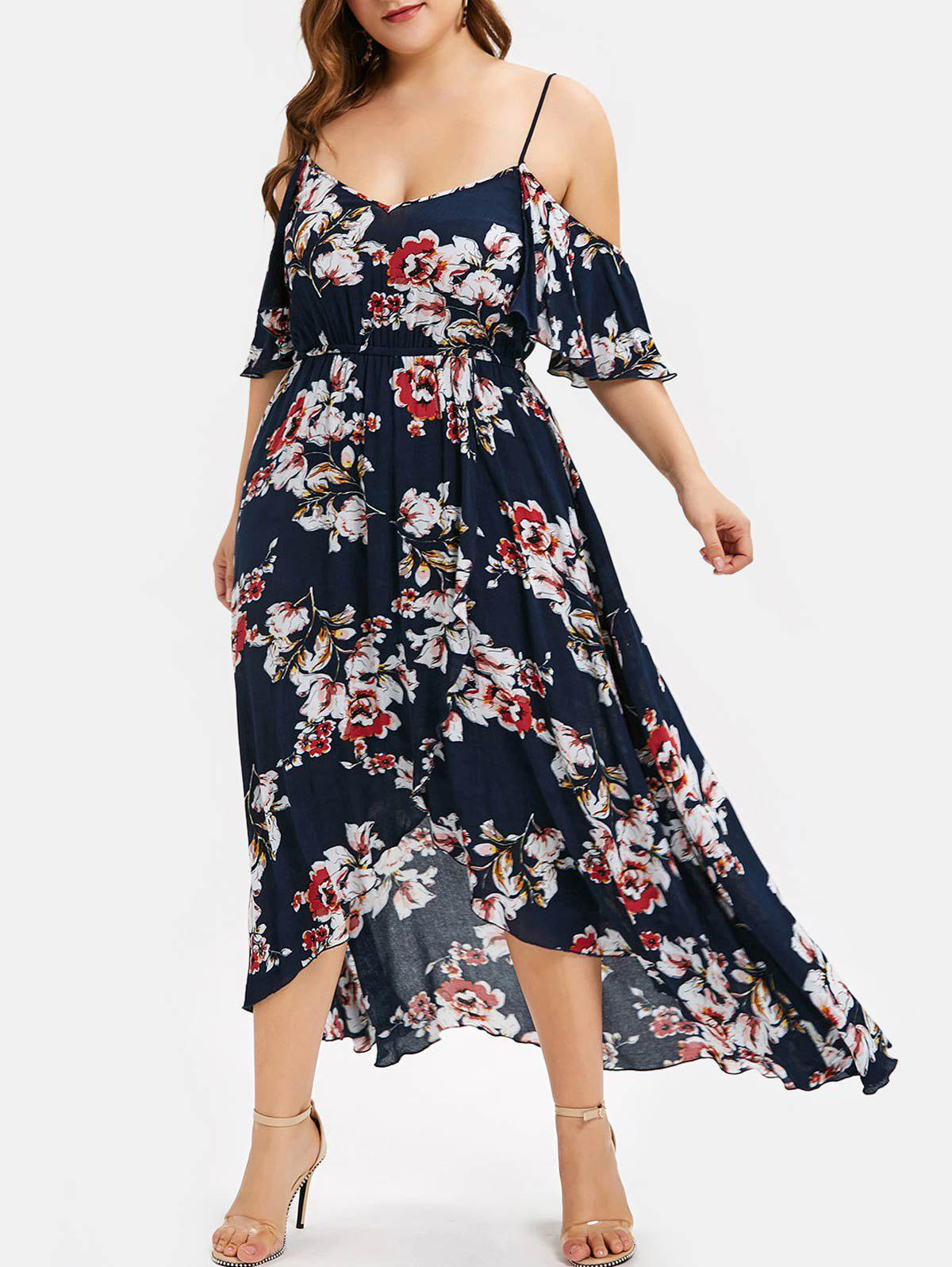 814038c16fe8b 34% OFF] Plus Size Open Shoulder Floral High Low Maxi Dress | Rosegal