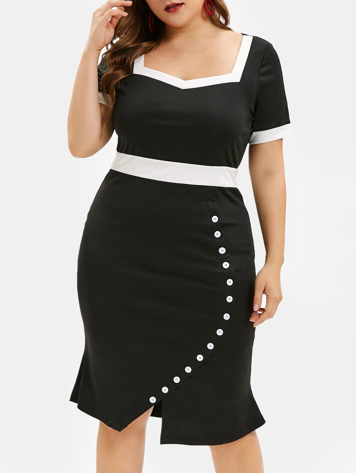Latest Plus Size Contrast Trim Buttons Bodycon Dress