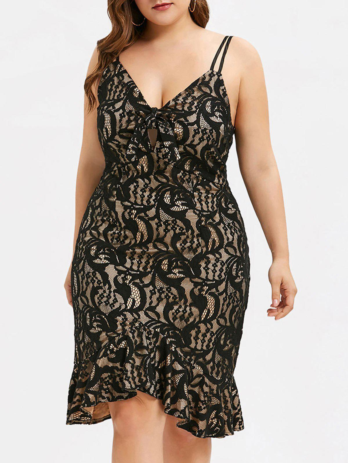 Hot Front Tie Lace Plus Size Fishtail Dress