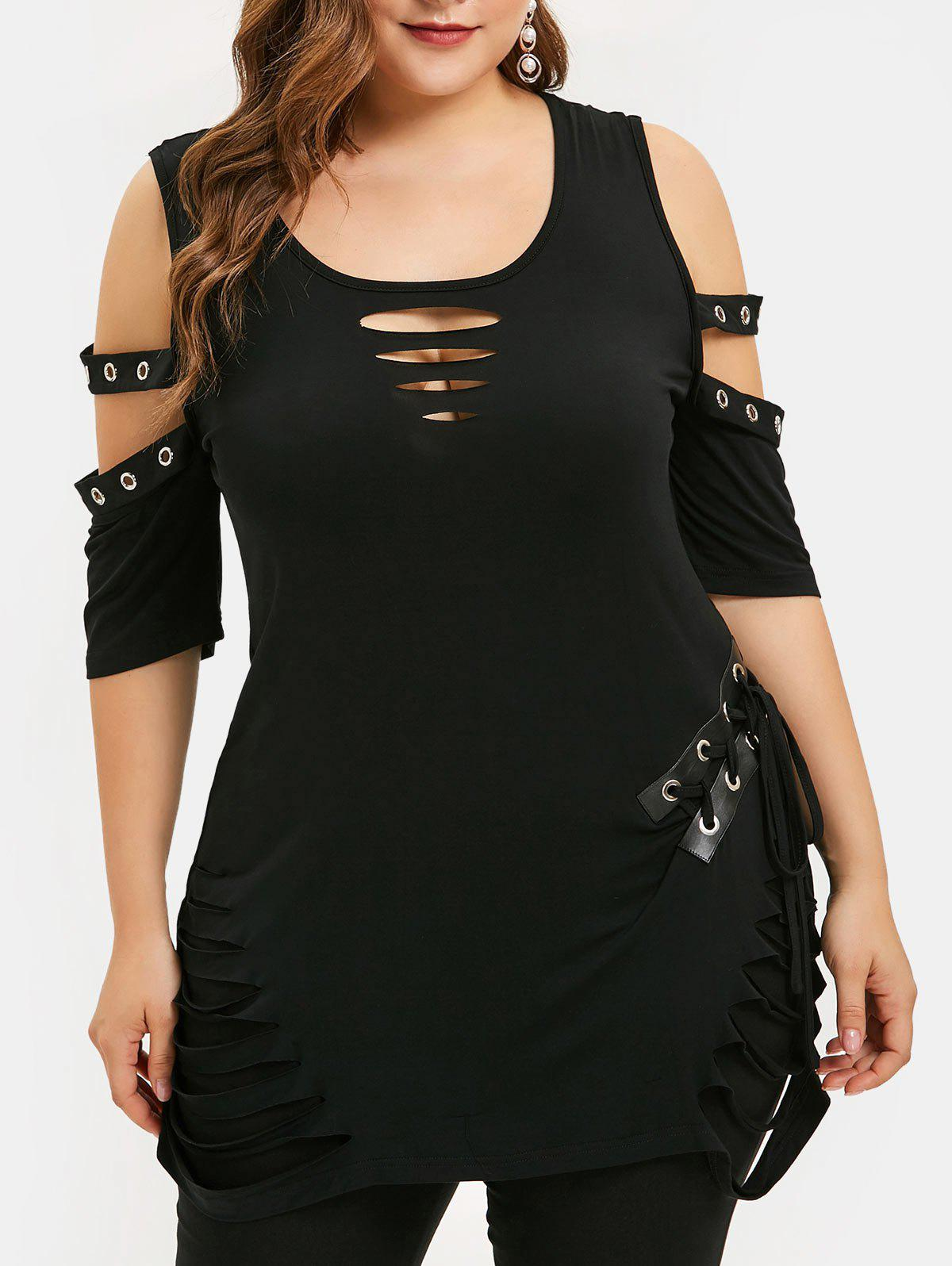 Best Open Shoulder Lace Up Plus Size Ripped T-shirt