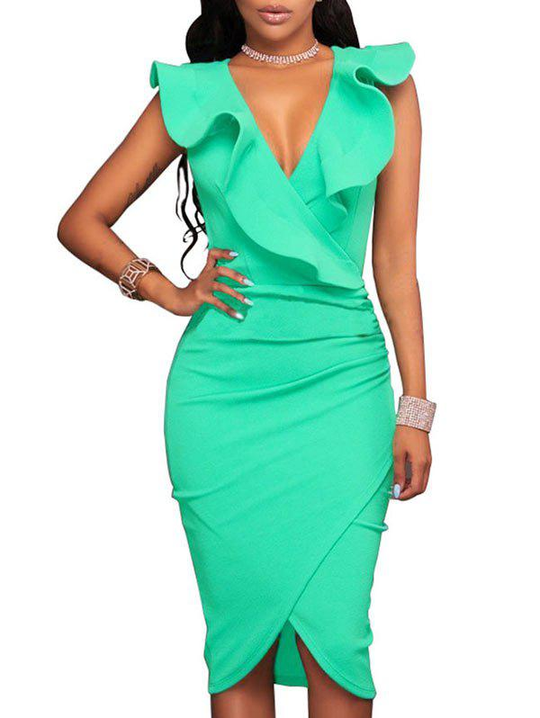 Online Ruffle Low Cut Bodycon Dress