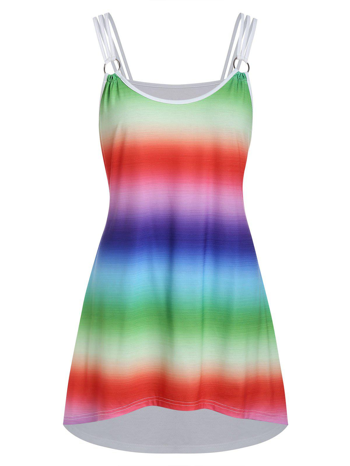d2f59f8af9c6b5 Online Plus Size High Low Printed Cami Tank Top