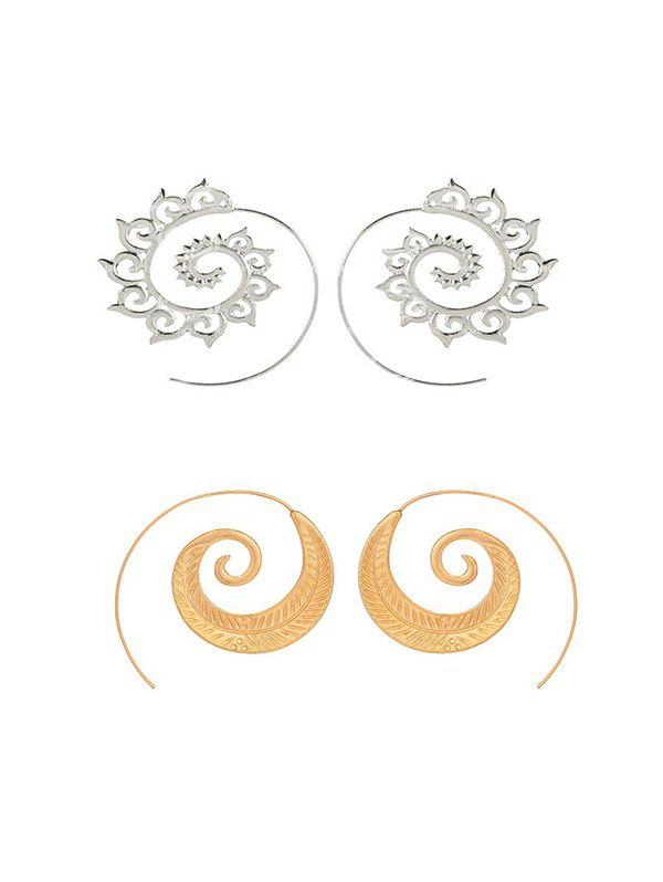 2Pairs Leaf Spiral Hollow Earrings Set
