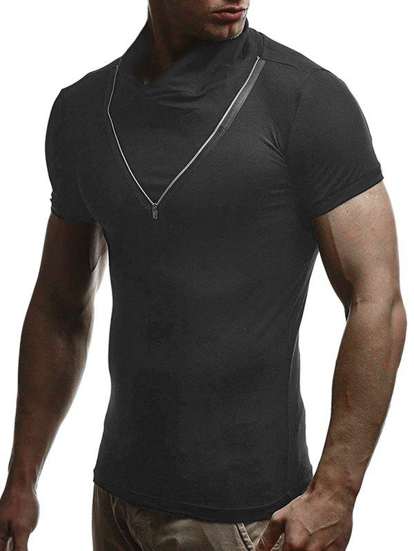 Solid Color Zipper Short Sleeves T-shirt