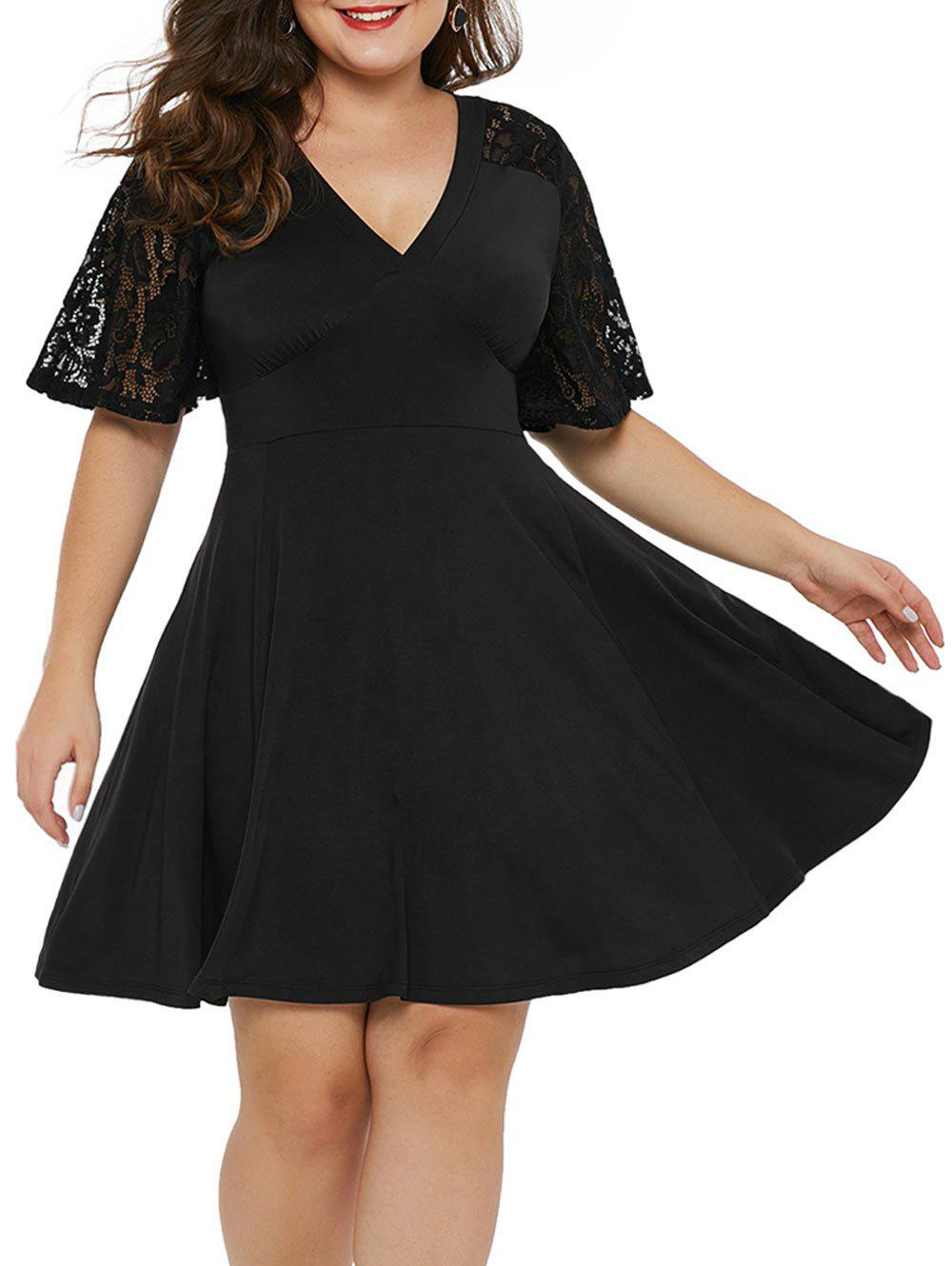 18b845ca0b4c1 40% OFF] Half Lace Sleeve Plus Size Plunging Neck Dress | Rosegal