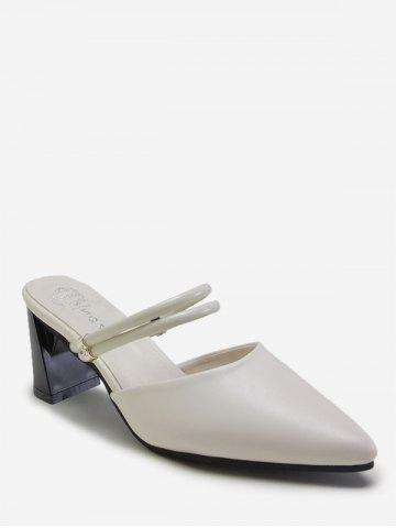 Chunky Heel Pointed Toe Slippers