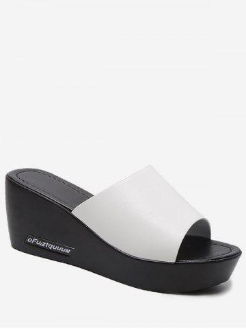 Faux Leather Wedge Heel Slides