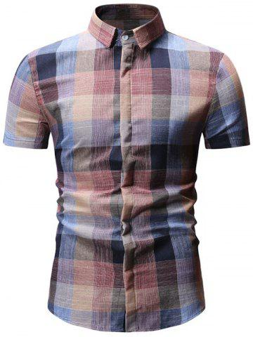 Plaid Printed Casual Short Sleeves Shirt
