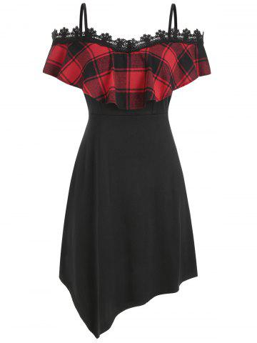 Lace Panel Plus Size Plaid Print Shift Dress