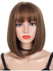 Straight Bob Neat Bang Medium Synthetic Wig -