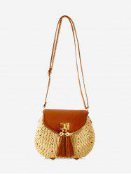 Fringe Decor Straw Crossbody Bag -