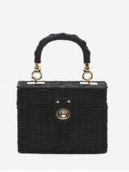 Woven Straw Box Tote Bag -