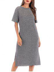 Marled Knit Slit Midi Dress -