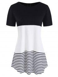 Lace Panel Striped Print Contrast T-shirt -