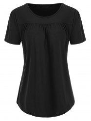 Round Neck Ruched Solid Tee -