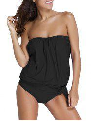Strapless Knotted Padded Tankini Set -