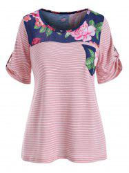 Stripe and Flower Print Pocket T-shirt -
