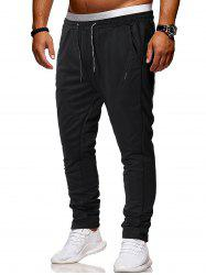 Solid Color Drawstring Casual Pants -