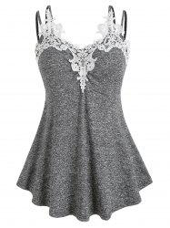 Plus Size Marled Contrast Lace Tank Top -
