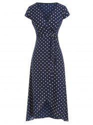 Polka Dot Belted Overlap Dress -