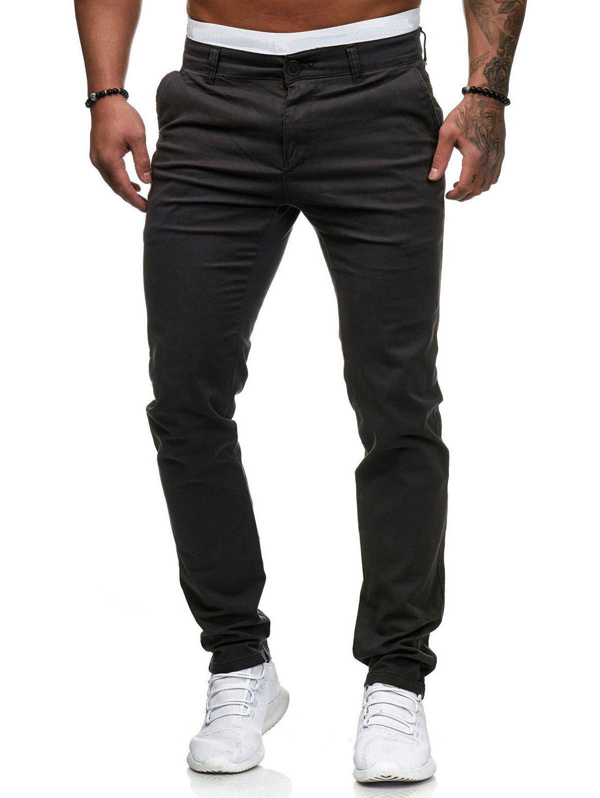 Solid Color Long Straight Casual Pants, Black