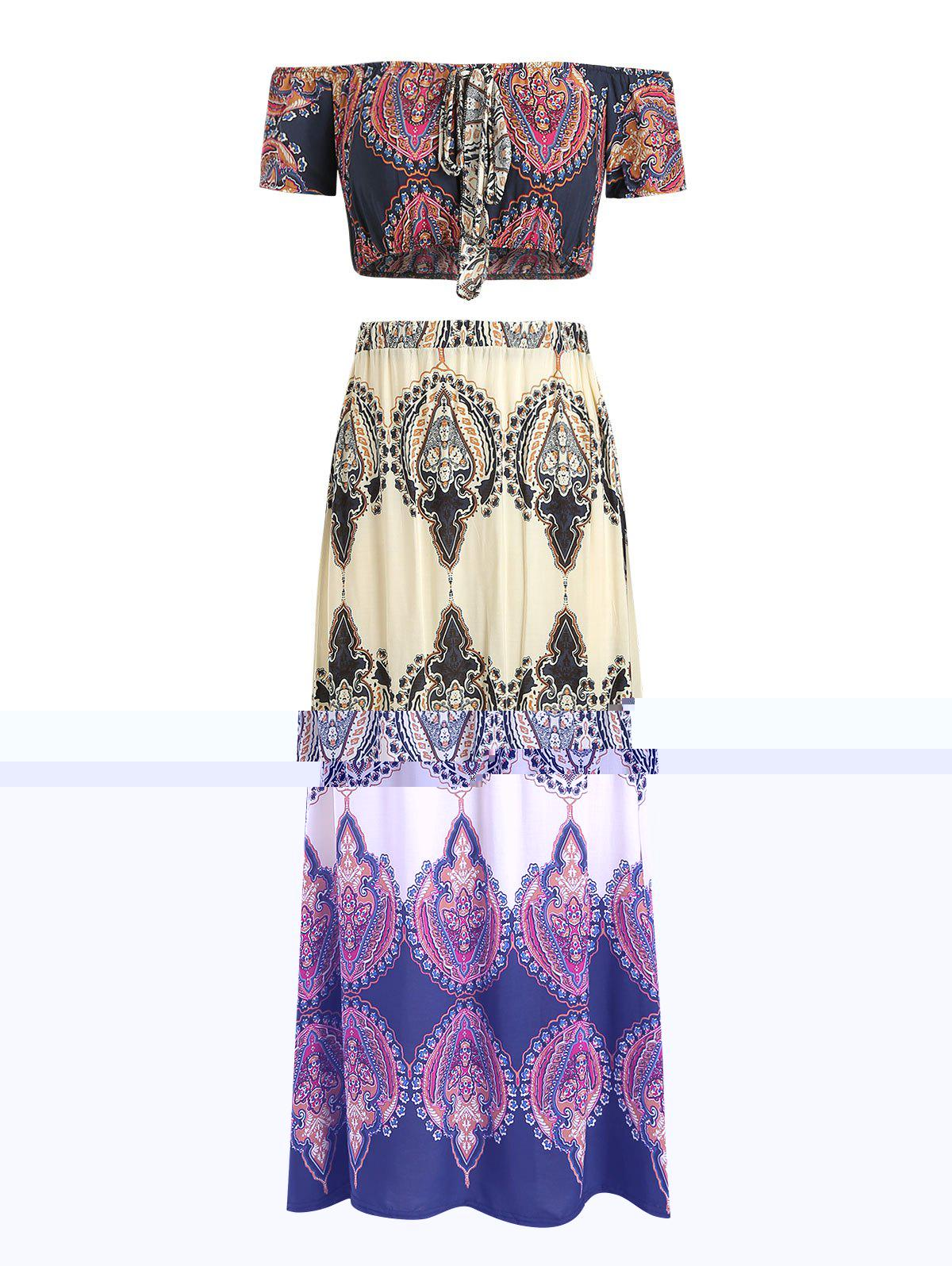 Outfits Bohemian Print Maxi Skirt and Off The Shoulder Crop Top