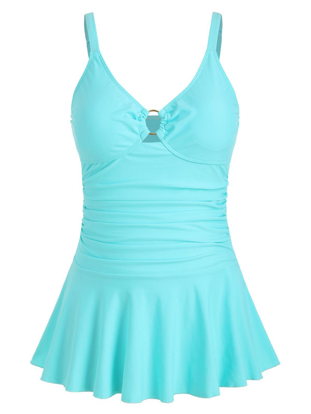 Outfits Ruched Plus Size O Ring Embellished Tankini Set
