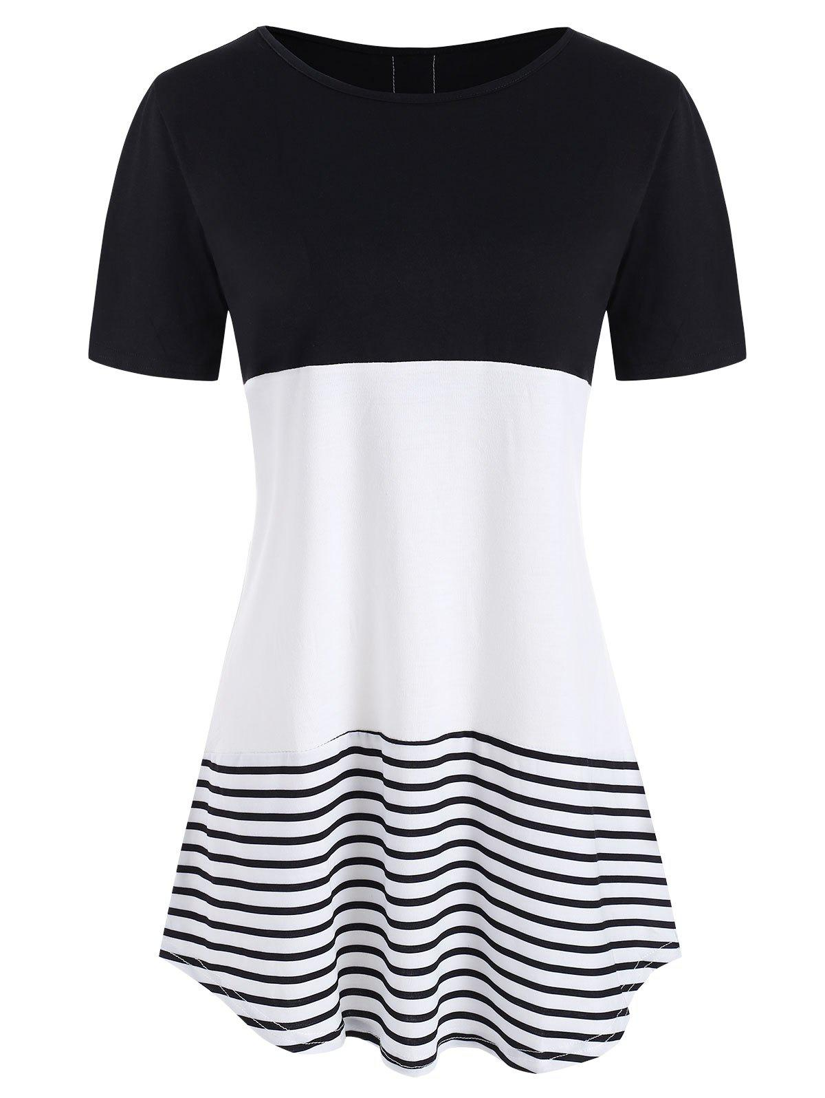 Affordable Lace Panel Striped Print Contrast T-shirt