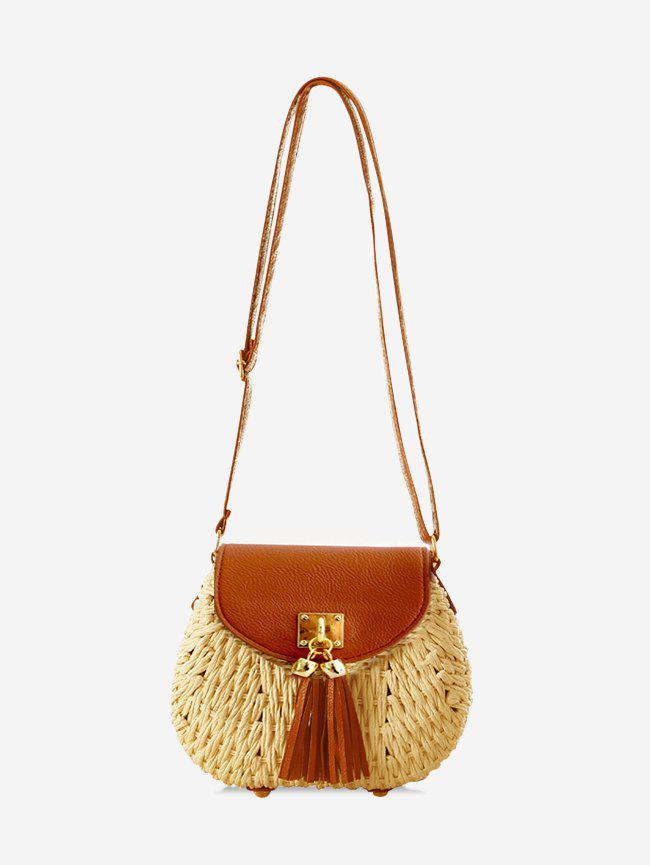 Shops Fringe Decor Straw Crossbody Bag
