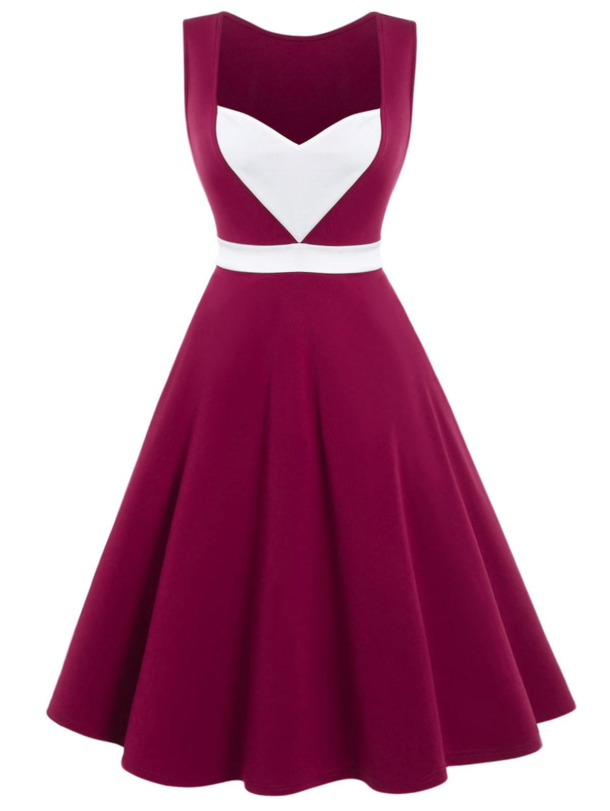 Sale Sweetheart Neck High Rise Flare Dress