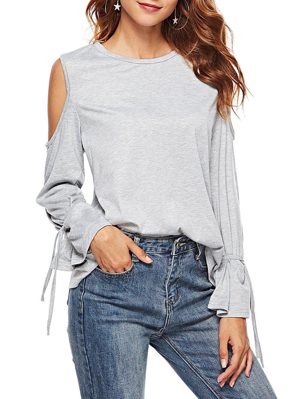 a75d3eb87895e 2019 Open Shoulder Bell Sleeve T-shirt