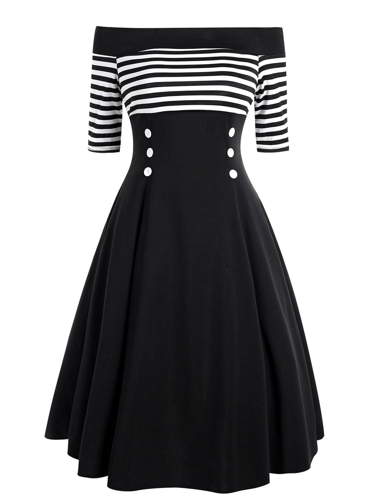 Cheap Striped Off The Shoulder Flare Dress