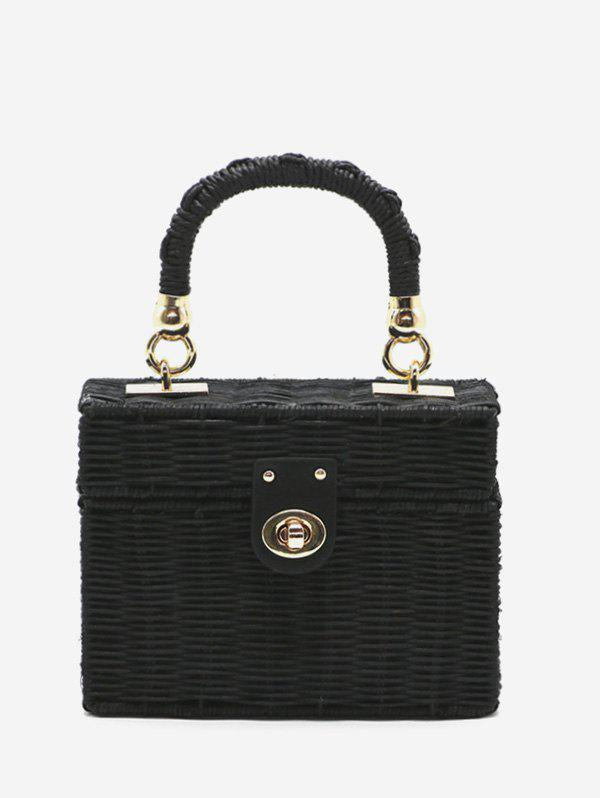 Fancy Woven Straw Box Tote Bag