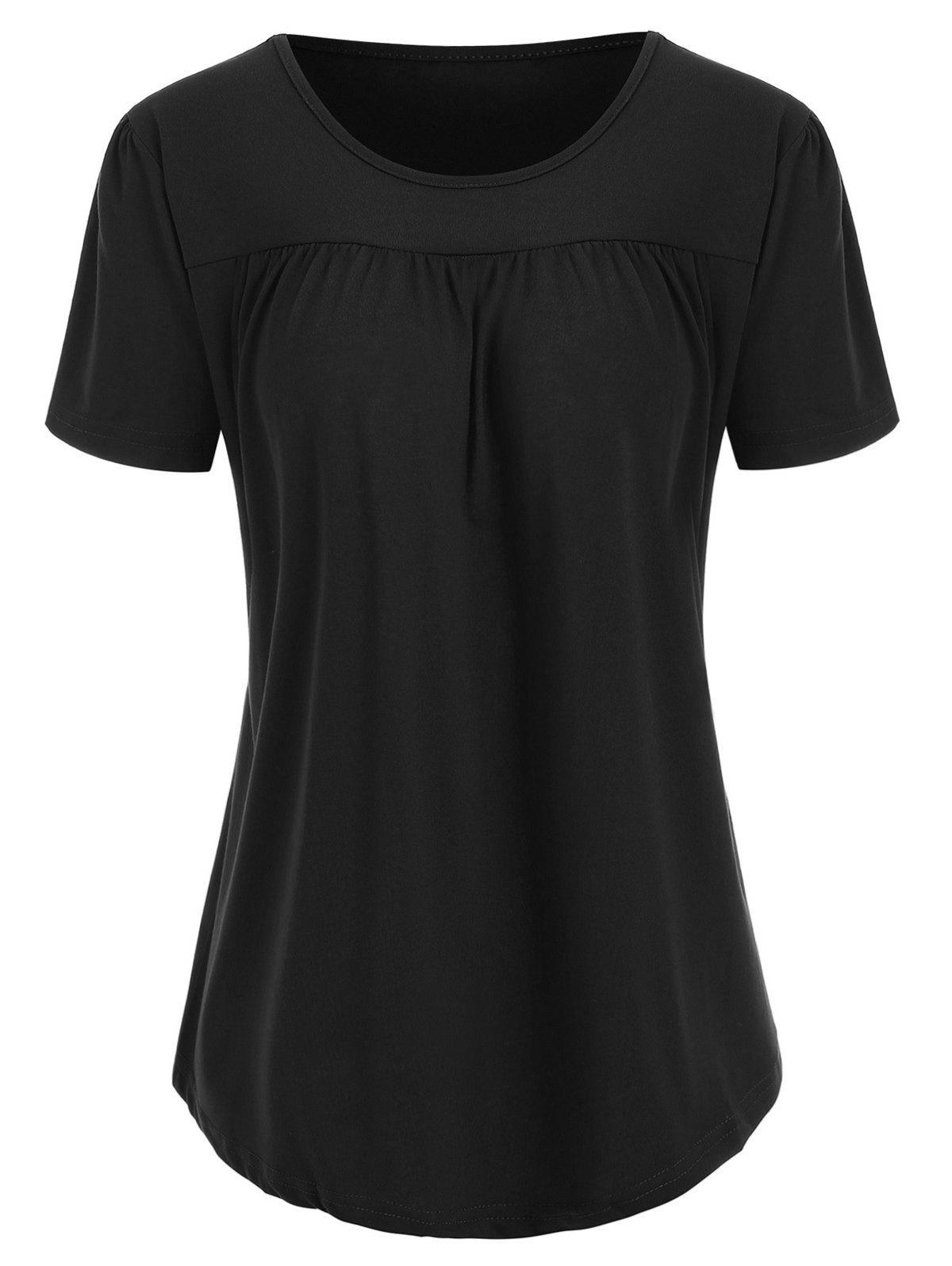 Fashion Round Neck Ruched Solid Tee