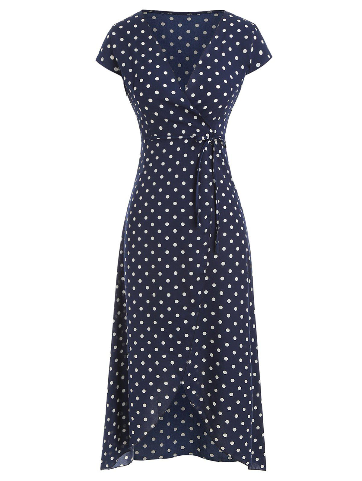Affordable Polka Dot Belted Overlap Dress