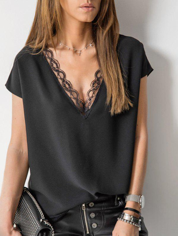 Best Plunge Lace Panel Blouse