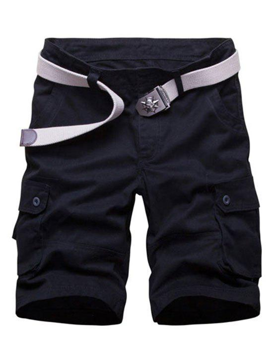 Solid Color Casual Style Cargo Shorts, Black