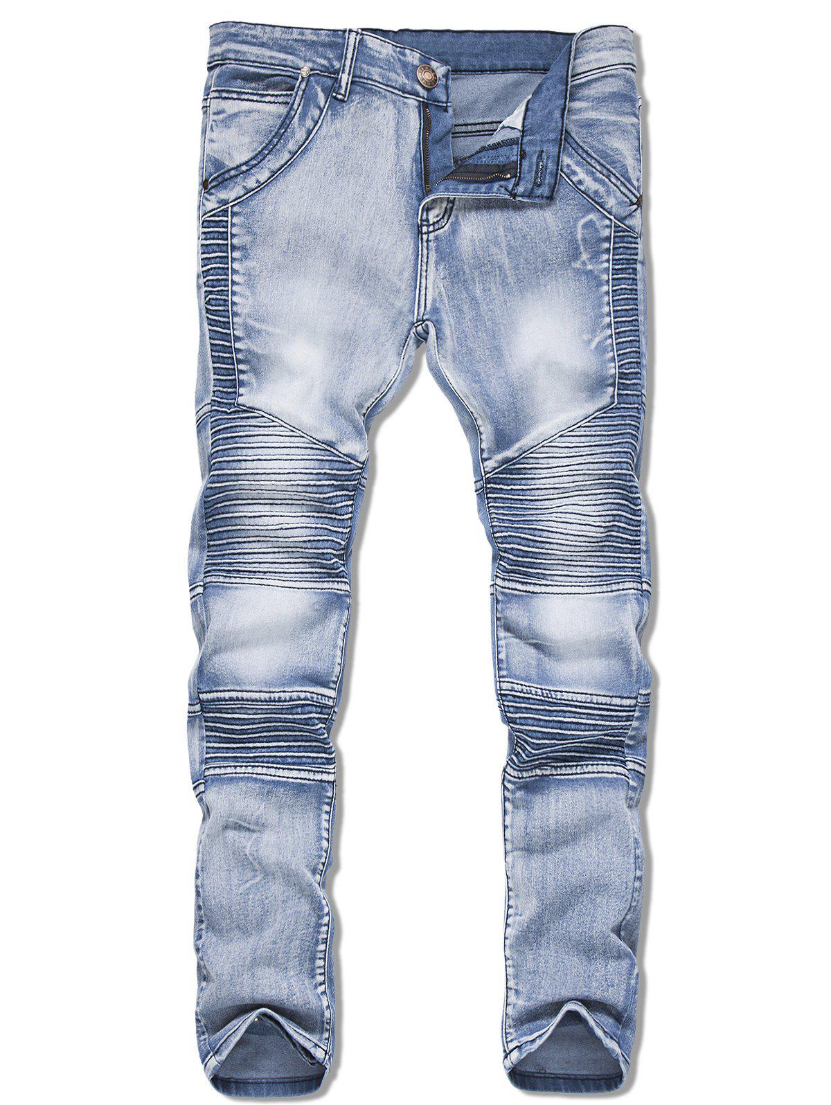 Long Straight Casual Pleated Jeans